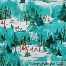 BonEful FABRIC Cotton Quilt VTG Green Xmas Tree DEER Scenic Forest Winter SCRAP