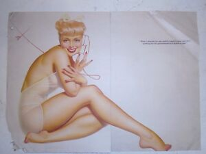 """1941 Petty Girl Original Esquire Gatefold - """"Here I thought"""" - Scarce"""