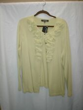Evan Picone Woman 3x sage ruffled cardigan sweater