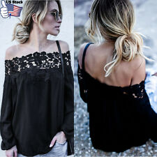 Women Summer Off Shoulder Lace Long Sleeve Tops Blouse Slash Neck T-Shirt US