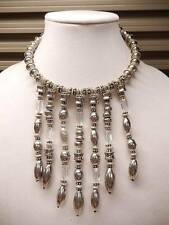 Chico's Necklace Fringe Silver Lucite Bib Wire NWT