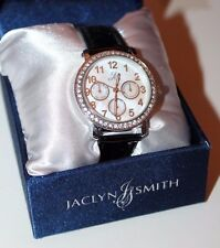 Jaclyn Smith Round Bezel w/ Crystals Stone Accent Chronograph Black Strap Watch