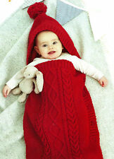 BABY'S HOODED COCOON & SLEEPING BAG DK KNITTING PATTERN 0-9, 9-18, 18-36 MONTHS