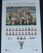HAWTHORN HAWKS 2008 PREMIERS SIGNED CAPTAIN COACH PRINT HODGE CLARKSON MITCHELL
