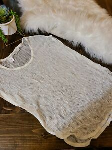 NWT-Ann Taylor LOFT  Open Stitch Cream Knit Cover Up Top  Size M