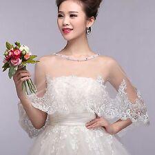 Vintage Ivory Rhinestone Edge Wedding Bridal Lace Bolero Shawl Cape Shrug Wrap