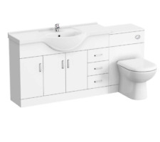 Gloss White Vanity Unit Sink & Toilet | Ceramic Basin & Pan Bathroom Suite Set