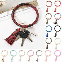 Women Round Keyring Bangle Keychain Tassel Bracelet Wristlet PU Leather Metal US