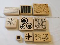 Lot of Misc Wood Mount Stamp Set includes 9 rubber stamps Scrapbooking various