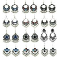 Fashion Bohemian Jewelry Tibetan Silver Long Hook Drop Dangle Tassels Earrings
