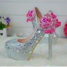 Shiny Rhinestone Womens Stylish Slip On Shoes Wedge Bridals Flower Decor Wedding