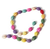 String of Oblong Multi Coloured Turq Howlite Beads for Jewellery Making T44DS