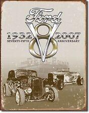 Ford Deuce 75th V8 Car Dealer Street Rod Rat Logo Retro Decor Metal Tin Sign New