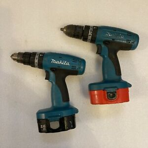 "2 X MAKITA 8390D 18V Cordless Hammer Drills Complete with Batteries ""No Charger"""