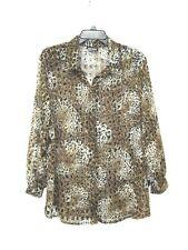 Vintage Rad Oversized Long Animal Print Leopard Sheer Button Down Shirt - L / XL