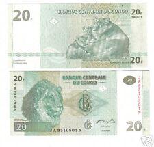 CONGO AFRIQUE Billet 20 FRANCS 2003 LION TIGRE Neuf UNC
