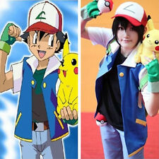 Cosplay Pokemon Ash Ketchum Trainer Costume Shirt Jacket gloves+hat +ball 4 set