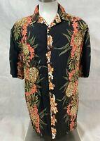 Vtg Hilo Hattie Hawaiian Shirt Men's Size Large Floral Pineapples Short Sleeve