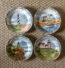 Vtg American atelier porcelain lighthouse Collector plates Ex Cond Ready To Hang