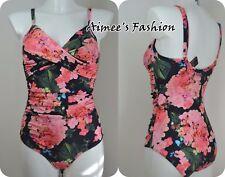 Next UK 12 Damen Schwarz Blumenmuster Form Verbessernd Badeanzug