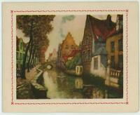 VINTAGE BRICK STONE HOUSEVILLAGE STREAM TREES OLD PICTURE CARD LITHOGRAPH PRINT