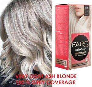 VERY LIGHT ASH BLOND 11.1 FARO Permanent hair dye colourant,100% GREY COVERAGE
