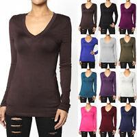 TheMogan S~3XL Super Soft Rayon Knit V-Neck Long Sleeve Tee Juniors T-Shirts