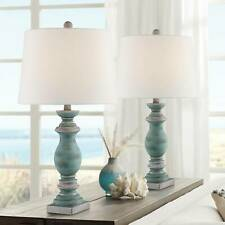 Country Cottage Table Lamps Set of 2 Blue Gray Washed for...