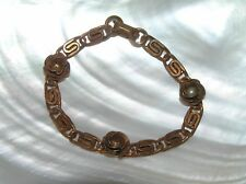 Vintage Solid Copper Paperclip Link with Three Dimensional Rose Flowers Bracelet