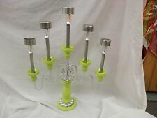 Vintage repurposed table centerpiece candle abra holder 5 solar lights outdoor