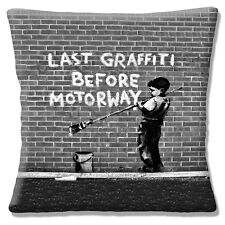 Banksy Art Cushion Cover 16x16 inch 40cm Boy Paint Last Graffiti Before Motorway