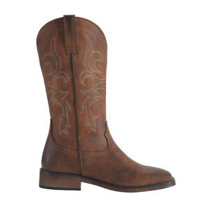 SheSole Women's Cowgirl Western Cowboy Boots Bridal Shoes Square Toe Black Brown