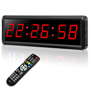 Seesii 1.5'' LED Digital Wall Clock Gym Interval Timer Stopwatch for Office Home