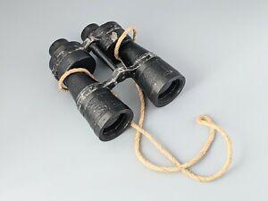 Large Vintage Binoculars Military Style Rope Strap