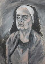 Vintage portrait gouache painting nun