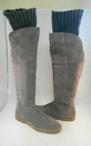 CORSO COMO Radar Gray Suede Over the Knee Tall Boots w/ Knit Cuff Wmn's Sz 9 M