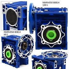 Nmrv050 Worm Gear Speed Reducer Geared Ratio 6011001 For Stepper Motor Blue