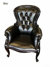 Grandfather Chair Victorian Black Leather Antique Reproduction Chesterfield
