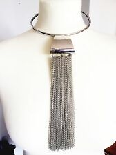 Sexy Long Silver Tassel Choker Necklace Xmas Gift Idea For her Celebrity favour