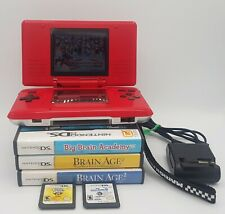 Nintendo DS NTR-001 Red with 6 Games & Charger No Stylus Tested Mario Kart Smurf