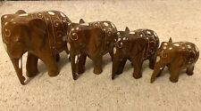 More details for set of 4 carved wooden elephants with inlay indian figurine ornament
