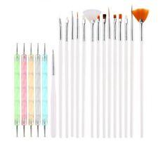 15 pcs Nail Art Brushes White + 5 Dotting Rhinestones Pens UV Gel Polish Paintin