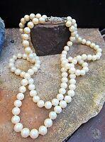 * vintage akoja perlen kette doppelreihig crème 835er verschluß top erbstück