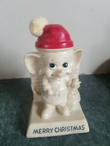 Vintage Santa Mouse Russ Wallace Berrie  Figurine 1969 Merry Christmas Exc Cond