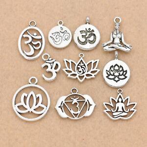 20PCS Silver YOGA OM Charm Pendant for Making Earrings Neclace Bracelet DIY