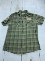 Heritage 1981 Womens Cotton Short Sleeve Plaid Multicolor Shirt Size Medium