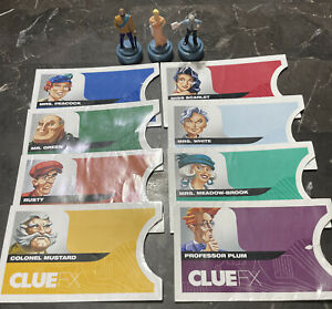 Game Parts Pieces Clue FX 2003 Parker Brothers 3 Pawns 8 Suspect Envelopes