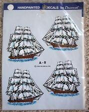 Vintage Nip Decorcal Handpainted Tall Sailing Ships Decoupage Craft Sheet #A-8