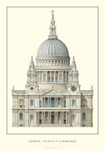 """London, St. Paul's Cathedral 38.5"""" x 27.25"""" Poster 2004 Realism"""
