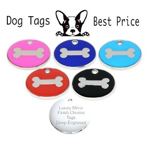 Personalised Engraved Enamel Bone Tag Dog Cat Pet ID Tags Choice of Colours
